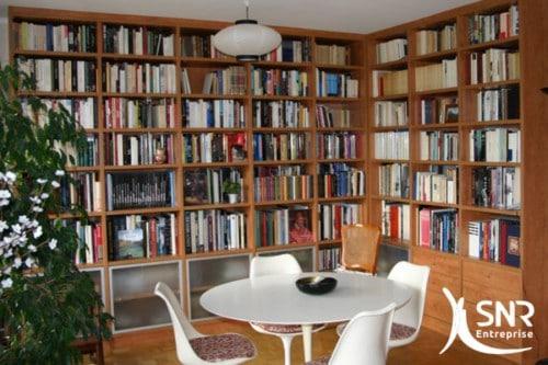 Agencement intérieur et aménagement bibliothèque en Mayenne (53) et Ille-et-Vilaine (35) avec SNR Entreprise.