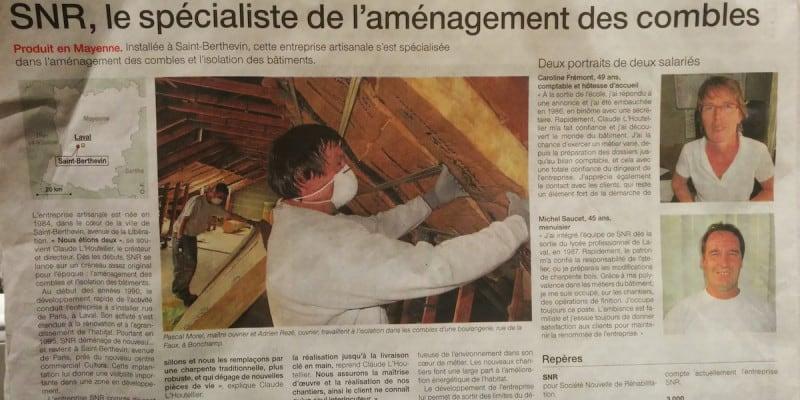Preuve de sa spécialité et de sa réputation de professionnel, SNR Entreprise est à l'honneur dans Ouest France pour ses compétences en aménagement de combles.
