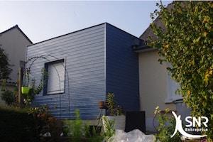 Extension maison ossature bois. Agrandissement habitat pour création d'une suite parentale.