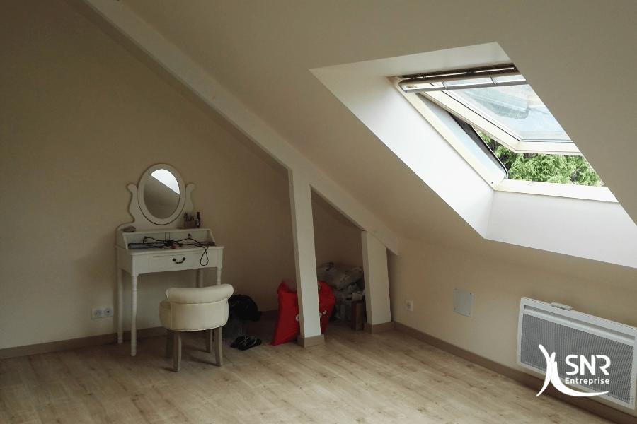 Création d'une chambre grâce à l aménagement de combles vitré