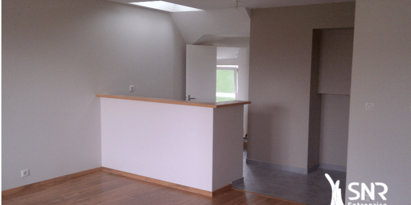 Création d'une grande pièce de vie lumineuse pour cet appartement intégralement rénové par SNR Entreprise
