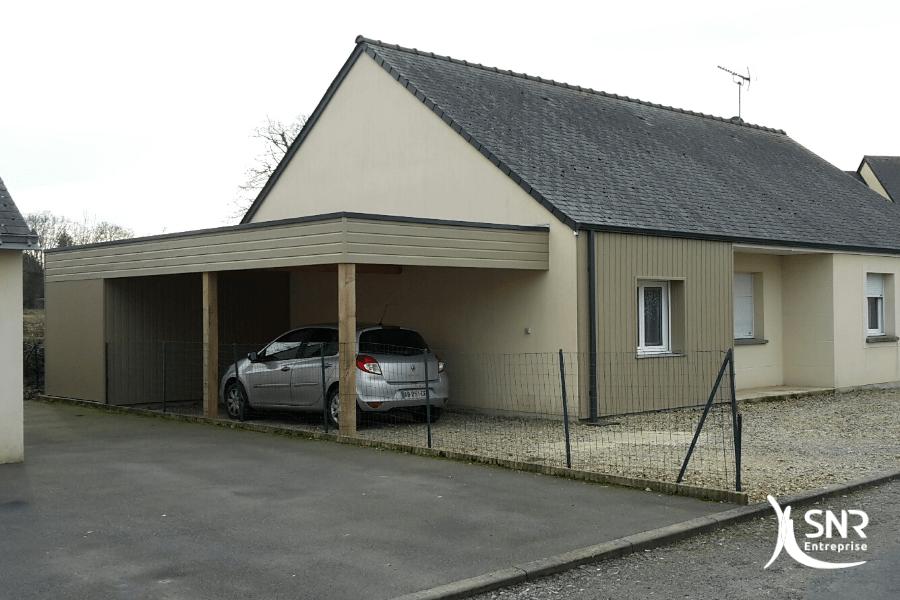 Réalisation d un agrandissement maison vitré en bois pour création d un abris de jardin et d une zone de stockage